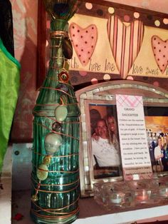 Handmade copper wired beaded wine bottle by ElegantGiftShop4U, $55.00