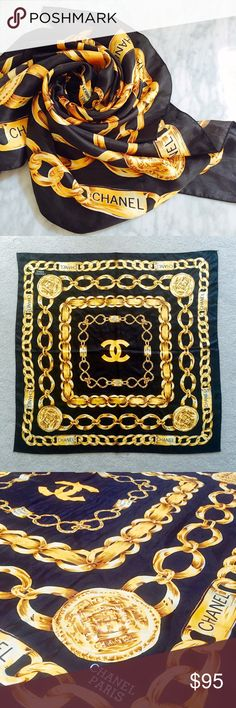 "Vintage Chanel Scarf Unused and in perfect condition! This beautiful scarf is made of 100% black and gold silk and measures 34""x34""! Chanel Accessories Scarves & Wraps"