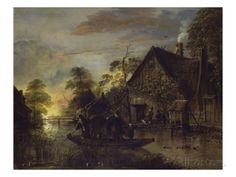 A River Landscape with Peasants Ferrying a Bull, Peasants by a Cottage Beyond Giclee Print