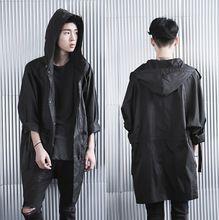 neue mode British style gotisch langen herren trenchcoat männer groß und hoch mantel cool jacke kapuzenmantel pea coat mit kapuze(China (Mainland))