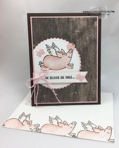 I made this cute card with the new This Little Piggy stamp set and some Wood Textures DSP - to celebrate an achievement!! For free instructions on how to make this card, please visit my blog at: https://stampsnlingers.com/2017/07/06/stampin-up-this-little-piggy-that-did-for-the-happy-inkin-thursday-blog-hop/