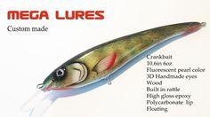 Custom Lure CrankBait Mega Lures Wood Handmade Muskie Pike Bass Fishing #179 #MegaLures