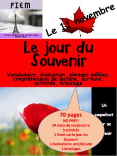 "70 slides about Remembrance Day in one tidy package that should cover one to two weeks of active language learning! Absolutely NO PREP! Ready to print and USE as an ACTIVITY PACKAGE! Set of flashcards about: ""Le jour du Souvenir"" is included too! 34 flashcards!!!! Evaluation, Remembrance Day, Your Word, Language, French, Education, Learning, Words, Cover"