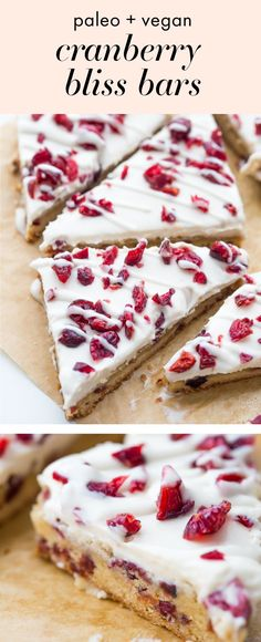 """These paleo cranberry bliss bars are just that: bliss! These vegan cranberry bliss bars are a grain-, gluten-, and dairy-free paleo Starbucks copycat recipe that's perfect for the holidays. Blondies, layered with """"cream cheese"""" frosting, topped with dried cranberries, these paleo cranberry bliss bars are so delicious. You'll love these vegan cranberry bliss bars because they're a holiday treat that are totally guilt-free!"""