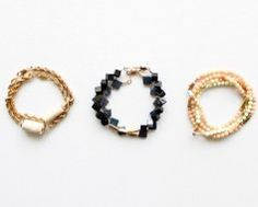 Gemstone & metal bracelets