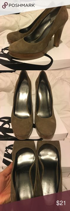 Nine West heels Beautiful brown and wood heels! Size 8, true to size. So comfy, haven't been worn more than a handful of times. Perfect condition no marks, scuffs, dirt. Nine West Shoes Heels