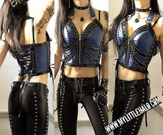 Black & Blue Studded Leather Bustier - My Little Halo http://mylittlehalo.com/metal-clothing-collection