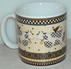 Sakura Weathervane Debbie Mumm Cow Spots Country Yellow Coffee Cup Mug - This Item is for sale at LB General Store http://stores.ebay.com/LB-General-Store ~Free Domestic Shipping ~