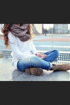 JeansBootsSweaterScarf