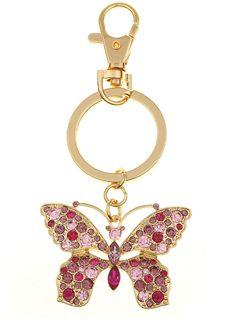 MONET JEWELRY Monet Gold-Tone & Pink Stone Butterfly Key Fob