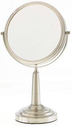 Danielle Creations 10x Satin Nickle Conical Pedestal Vanity Makeup Mirrors D861   seattleluxe.com