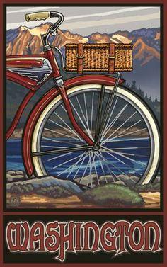 Washington (Olympia) - November 11, 1889 - Vintage Travel Poster (Vintage Bicycle)