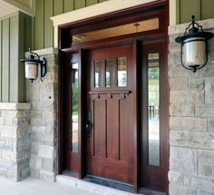 Craftsman style fiberglass entry doors with sidelights