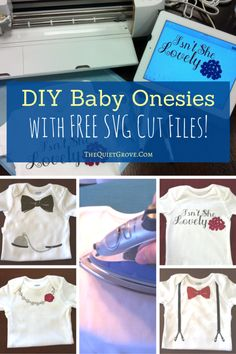 These DIY Baby Onesies are the perfect baby shower gift. (with Free SVG Cut Files! ) [sponsored] Vinyl Crafts, Vinyl Projects, Fun Crafts, Art Projects, Baby Shower Gifts, Baby Gifts, Cute Baby Onesies, Girl Onsies, Diy Bebe