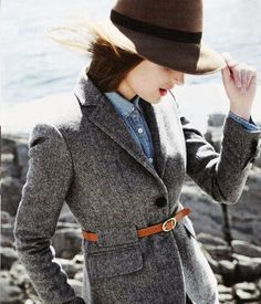 Denim shirt, tweed jacket, and felt hat... my kind of ensemble.