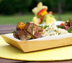 Orange-Teriyaki Beef Kabobs with Lemon Rice Pilaf make dinner prep a family affair. Everyone can help skewer ingredients!