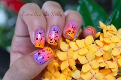 wow... orange purple hott pink shade nails
