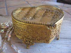 Jewelry Casket  Heart Filigree  Beveled Glass  1950s  jewelry Box