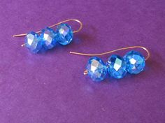 Blue Faceted Czech Glass Bead Earrings on by TheAssemblageLine