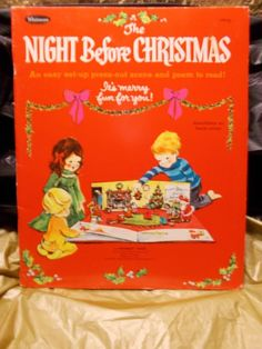 Vintage-1968-Whitman-Night-Before-Christmas-Press-Out-Scene-paper-dolls…