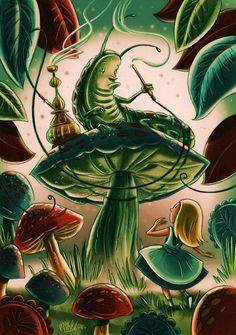 Alice in Wonderland, Caterpillar smoking hookah.