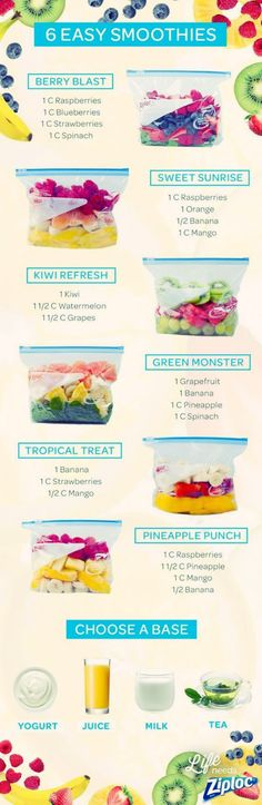 Try these 4 smoothie recipes that can be easily prepped, frozen in a Ziploc® brand freezer bag and saved for a busy day #smoothies #batidos