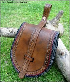 Handmade Viking Belt Pouch based on the archaeological birka finds 3.5mm veg tan with a basket stamped border, dyed antique mahogany and