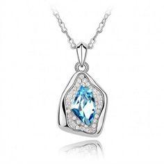 Sky blue Swarovski Crystal Necklace-Happy