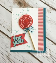 Handmade card ... Swiru bird circle used as a lollypop ... great card ... stacked shadow die cut sentiment ... Stampin' Up!