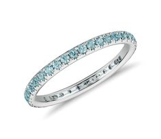 Perfect For Every Day Style! Aquamarine Eternity Ring in 18k White Gold | #Jewelry #Fashion