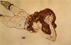Female Nude Lying on Her Stomach - Egon Schiele