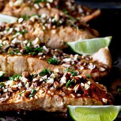 Salmon seared to a beautiful crisp & finished in the oven topped with sauce & chopped wasabi soy almonds. 5 Ingredients. 10 minutes.