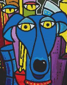 Modern Cross Stitch Kit By Thomas Fedro - 'Best Friends 181' - Pop Art CrossStitch Kit - Blue Dog