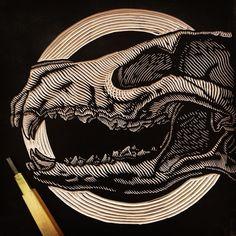 "671 Likes, 31 Comments - Mazatl (@_mazatli_) on Instagram: ""Entintado! // Inked! #extincionseries #skull #lobo #linocut #printmaking #illustration #drawing…"""