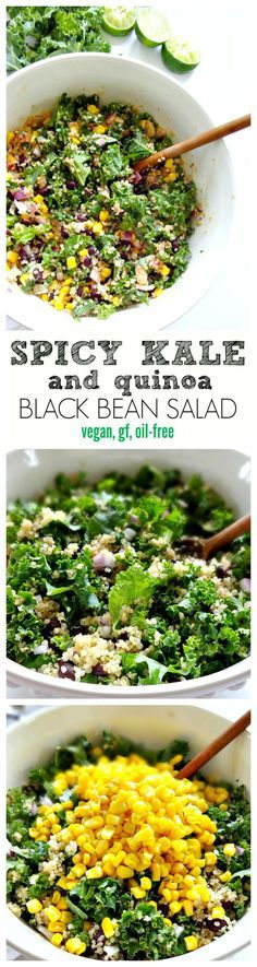 Spicy Kale and Quinoa Black Bean Salad - vegan, gluten free and oil-free. Crunchy, savory, spicy and absolutely delicious! A crowd-pleasing salad. From The Glowing Fridge. (Chicken And Quinoa Recipes) Whole Food Recipes, Cooking Recipes, Healthy Recipes, Quinoa And Kale Recipes, Cooked Kale Recipes, Healthy Vegan Recipes, Summer Vegetarian Recipes, Healthy Moms, Quinoa Dishes