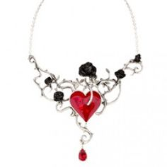 Pewter Blossom Entwined Necklace with Large Red Heart Pendant and Black roses