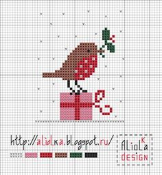Christmas bird cross stitch