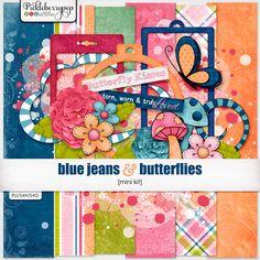 Quality DigiScrap Freebies: Blue Jeans & Butterflies mini kit freebie from Pickleberrypop
