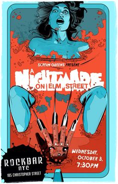 An alternative movie poster for the film A Nightmare on Elm Street , created by Laz Marquez, featured on AMP Horror Movie Posters, Cinema Posters, Movie Poster Art, Horror Films, Horror Art, Genre Posters, Freddy Krueger, Culture Pop, Geek Culture