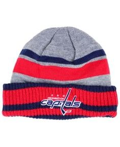 8e1b8a99b77 adidas Washington Capitals Heathered Grey Beanie - Gray Red Navy Adjustable