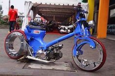 Honda c90 custom with crazy wheels