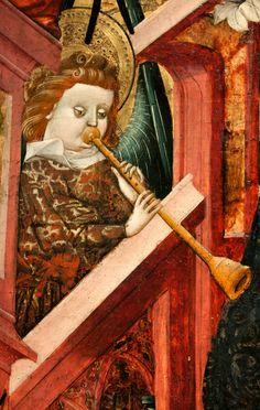 dettaglio da: Blasco de Grañén, María, reina de los cielos, 1437-1439, Museo de Zaragoza - (Realizada entre 1437-1439, esta tabla formaba parte del retablo mayor de la iglesia de Albalate del Arzobispo. La Virgen aparece entronizada rodeada de ángeles músicos con instrumentos de la época: flauta, laúd, órgano de mano, etc.)