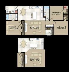Floor plan of  Highland Mobile / Manufactured Home via MHVillage.com