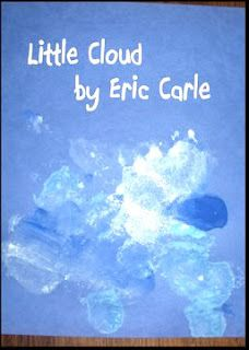 "This Eric Carle inspired art project for kids uses cottonball painting to make ""Little Cloud"" s!"