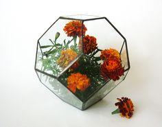 Small stained glass terrarium. Geometric terrarium from Modern decor by DaWanda.com