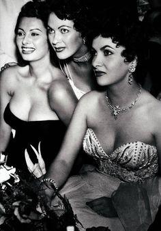 Sophia Loren, Yvonne De Carlo & Gina Lollobrigida.