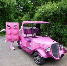 A Pink Lego shows off a Custom Pink Golf Cart~ Custom Golf Cart Bodies, Custom Golf Carts, Golf Cart Body Kits, Custom Body Kits, Golf Carts For Sale, Lake Life, Vintage Cars, Transportation, Lego
