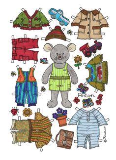 Karen`s Paper Dolls: Anton 1-2 Paper Doll in Colours. Anton 1-2 påklædningsdukke i farver.