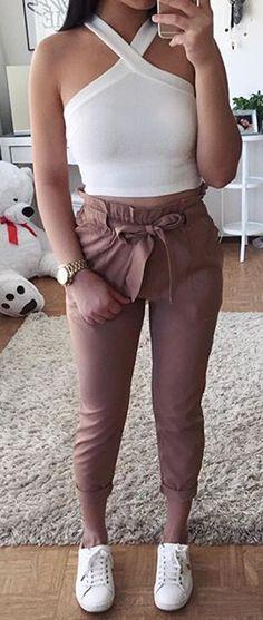 white top   harem pants