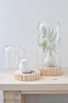 Décoration - cloche de verre avec base en bois | S - un morceau de concepteur du bruit de l'esprit sur DaWanda